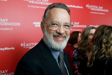 """2019: Tom Hanks attends """"A Beautiful Day In The Neighborhood"""" New York Screening at Henry R. Luce Auditorium at Brookfield Place on November 17, 2019 in New York City. (Photo by Dominik Bindl/FilmMagic)"""
