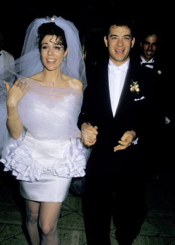 1988: Rita Wilson and Tom Hanks during Tom Hanks and Rita Wilson Wedding Reception at Rex's, California, United States. (Photo by Ron Galella/Ron Galella Collection via Getty Images)