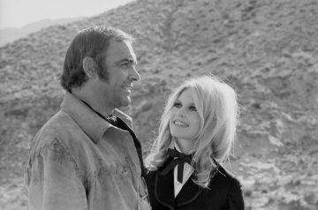 Scottish actor Sean Connery and French actress Brigitte Bardot on the set of Shalako, based on the novel by Louis Lamour and directed by Edward Dmytryk. (Photo by Jacques Haillot/Apis/Sygma/Sygma via Getty Images)