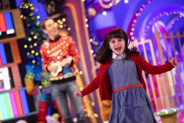 Matilda aka Eve Murphy (9) is pictured with Ryan Tubridy on the Roald Dahl themed set of this years The Late Late Toy Show.  Picture: Andres Poveda
