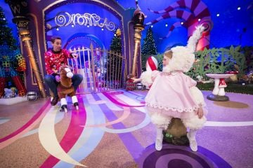 Isabella Douglas (4) from Meath is pictured with Ryan Tubridy on the Roald Dahl themed set of this years The Late Late Toy Show. Picture: Andres Poveda