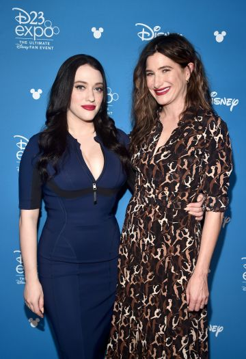 Kat Dennings and Kathryn Hahn of 'WandaVision' pictured at  the Disney+ Showcase at Disney's D23 EXPO 2019. . (Photo by Alberto E. Rodriguez/Getty Images for Disney)