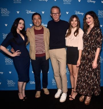 Kat Dennings, Randall Park, Paul Bettany, Elizabeth Olsen, and Kathryn Hahn of 'WandaVision' pictured at the Disney+ Showcase at Disney's D23 EXPO 2019. (Photo by Alberto E. Rodriguez/Getty Images for Disney)