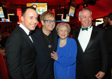 David Furnish, musician Sir Elton John, actress Betty White and guest attend the 18th Annual Elton John AIDS Foundation Oscar Party at Pacific Design Center on March 7, 2010 in West Hollywood, California.  (Photo by Stefanie Keenan/Getty Images for Chopard)