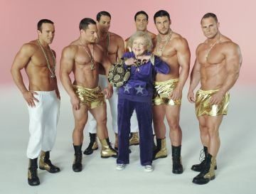 Actress Betty White (C) and 'Betty's Boys' appear on location for The Lifeline Program Music Video Shoot on August 29, 2011 in Los Angeles, California.  (Photo by Michael Kovac/WireImage)