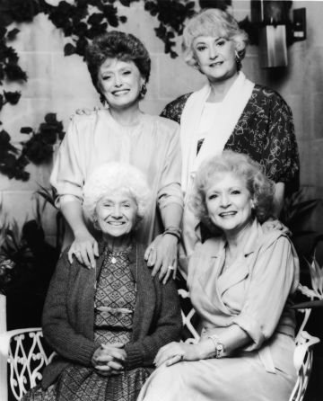 Promotional portrait of the cast of the TV series, 'The Golden Girls,' 1980s. CW, from top left: Rue McClanahan, Bea Arthur, Betty White and Estelle Getty. (Photo by Fotos International/Getty Images)
