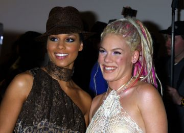 2001: Alicia Keys & Pink at the 2001 Billboard Music Awards (Photo by Jeffrey Mayer/WireImage)
