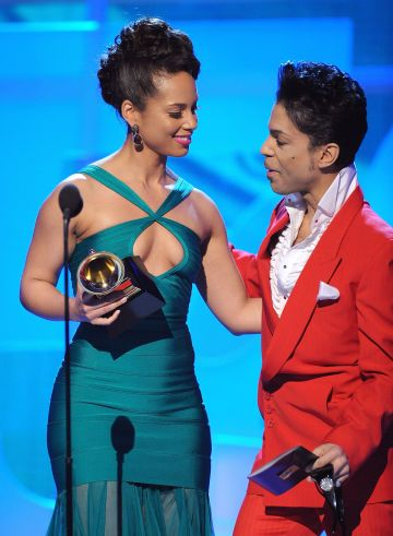 2008:  Musicians Alicia Keys and Prince on stage at the 50th Annual GRAMMY Awards at the Staples Center on February 10, 2008 in Los Angeles, California.  (Photo by Michael Caulfield/WireImage)