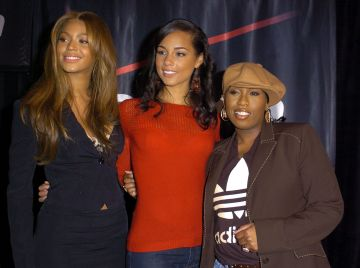 2004: Beyonce and Alicia Keys and Missy Elliott during Beyonce, Alicia Keys, Missy Elliott Announce Spring Tour To Begin March 12, 2004 Multi-Grammy Perfomers Bring Star Power to the Stage at Beverly Hills in Beverly Hills, California, United States. (Photo by SGranitz/WireImage)