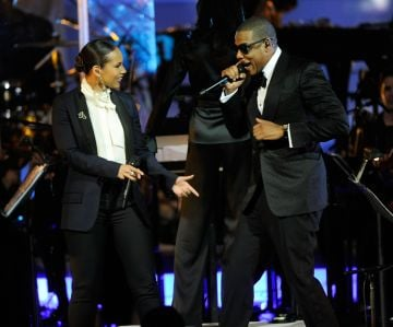 2012: Alicia Keys and Jay-Z perform at Carnegie Hall to Benefit the United Way of New York City and the Shawn Carter Foundation on February 7, 2012 in New York City.  (Photo by Kevin Mazur/WireImage)