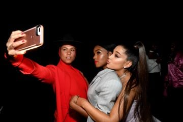 2018:  Alicia Keys, Janelle Monae and Ariana Grande take a selfie at Billboard Women In Music 2018 on December 6, 2018 in New York City.  (Photo by Kevin Mazur/Getty Images for Billboard )