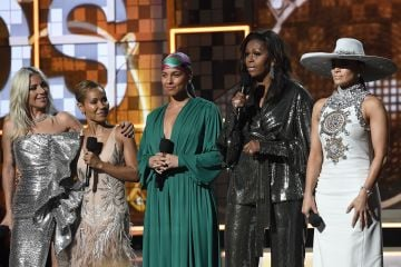 2019:  (L-R) Lady Gaga, Jada Pinkett Smith, Alicia Keys, Michelle Obama, and Jennifer Lopez speak onstage during the 61st Annual GRAMMY Awards at Staples Center on February 10, 2019 in Los Angeles, California. (Photo by Kevork Djansezian/Getty Images)