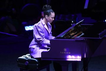 2020: Alicia Keys performs during The Celebration of Life for Kobe & Gianna Bryant at Staples Center on February 24, 2020 in Los Angeles, California. (Photo by Kevork Djansezian/Getty Images)