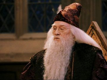 Well known actor Richard Harris was the first to portray headmaster Albus Dumbledore in Harry Potter and the Philosopher's Stone. Harris was best known for his roles in Camelot (1967) and Gladiator (2000) prior to taking on the role of Dumbledore. Harris died in October 2002 shortly before the premiere of 'Harry Potter and the Chamber of Secrets'   Image credit: Warner Bros