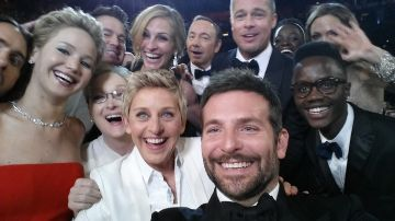 Ellen DeGeneres poses for a selfie taken by Bradley Cooper with (clockwise from L-R) Jared Leto, Jennifer Lawrence, Channing Tatum, Meryl Streep, Julia Roberts, Kevin Spacey, Brad Pitt, Lupita Nyong'o, Angelina Jolie, Peter Nyong'o Jr. and Bradley Cooper during the 86th Annual Academy Awards. The selfie became the most retweeted photo, beating Barack Obama's previous record.  (Photo credit Ellen DeGeneres/Twitter via Getty Images)