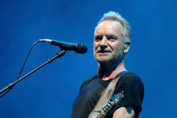 Sting rose to fame as the principal songwriter, lead singer and bassist for The Police from 1977-1984. He went on to launch a solo career, selling over 100 million records between the two.  (Photo by Gary Miller/Getty Images)