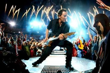 Musician Bruce Springsteen and the E Street Band  perform at the Bridgestone halftime show during Super Bowl XLIII between the Arizona Cardinals and the Pittsburgh Steelers on February 1, 2009 at Raymond James Stadium in Tampa, Florida.  (Photo by Jamie Squire/Getty Images)