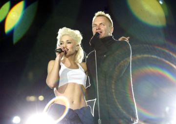 Gwen Stefani and Sting during Super Bowl XXXVII  - AT&T Wireless Super Bowl XXXVII Halftime Show - Rehearsal at Qualcomm Stadium in San Diego, California, United States. (Photo by KMazur/WireImage)