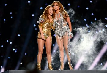Shakira and Jennifer Lopez perform onstage during the Pepsi Super Bowl LIV Halftime Show at Hard Rock Stadium on February 02, 2020 in Miami, Florida. (Photo by Kevin Mazur/WireImage)