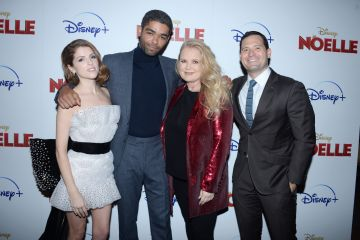 "2019: Anna Kendrick, Kingsley Ben-Adir, Suzanne Todd and Guest attend Disney+ And The Cinema Society Host A Special Screening Of ""Noelle"" at SVA Theatre on November 11, 2019 in New York City. (Photo by Paul Bruinooge/Patrick McMullan via Getty Images)"