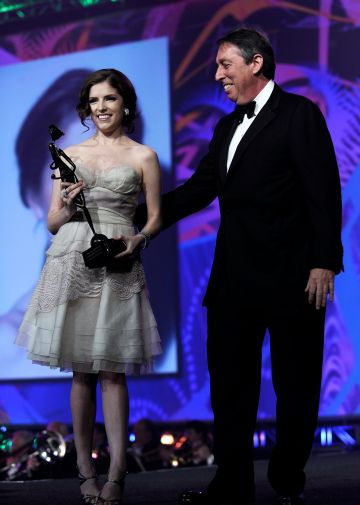 2010: Actress Anna Kendrick (L) accepts the Rising Star award from producer Ivan Reitman onstage at the 2010 Palm Springs International Film Festival gala held at the Palm Springs Convention Center on January 5, 2010 in Palm Springs, California.  (Photo by Michael Buckner/Getty Images for PSIFF)