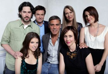 2009: (L-R) Writer/director Jason Reitman, actress Anna Kendrick, actor Jason Bateman, actor George Clooney, actresses Amy Morton, Vera Farmiga, and Melanie Lynskey pose for a portrait during the 2009 Toronto International Film Festival held at the Sutton Place Hotel on September 12, 2009 in Toronto, Canada.  (Photo by Jeff Vespa/WireImage)