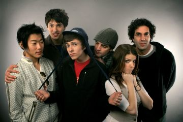 "2007: (L-R) Actor Aaron Yoo, actor Nicholas D'Agosto, actor Reece Thompson, actor Vincent Piazza, actress Anna Kendrick and writer/Director Jeffrey Blitz from the film ""Rocket Science"" poses for a portrait during the 2007 Sundance Film Festival on January 21, 2007 in Park City, Utah.  (Photo by Mark Mainz/Getty Images)"