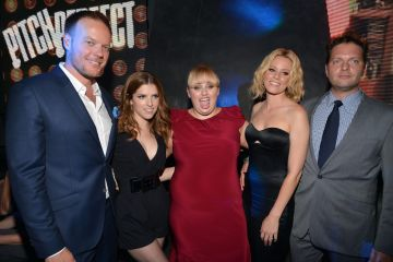 "2012:  (L-R) Director Jason Moore, actresses Anna Kendrick, Rebel Wilson, actress/producer Elizabeth Banks and producer Max Handelman attend the ""Pitch Perfect"" Los Angeles premiere after party held at Lush on September 24, 2012 in Hollywood, California.  (Photo by Lester Cohen/WireImage)"