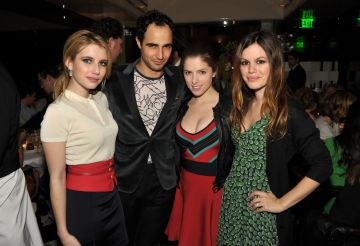 2010:  Emma Roberts (wearing Z SPOKE), Zac Posen, Anna Kendrick (wearing Z SPOKE), and Rachel Bilson at the launch of Z SPOKE by Zac Posen hosted by Saks Fifth Avenue at Mr Chow on February 27, 2010 in Beverly Hills, California.  (Photo by John Shearer/WireImage)