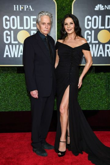 Michael Douglas and Catherine Zeta-Jones attend the 78th Annual Golden Globe® Awards at The Rainbow Room on February 28, 2021 in New York City.  (Photo by Dimitrios Kambouris/Getty Images for Hollywood Foreign Press Association)