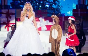 Mariah Carey, with children Moroccan Cannon and Monroe Cannon, performs live during her All I Want For Christmas Is You tour at Motorpoint Arena on December 09, 2018 in Nottingham, England. (Photo by Samir Hussein/Samir Hussein/WireImage)
