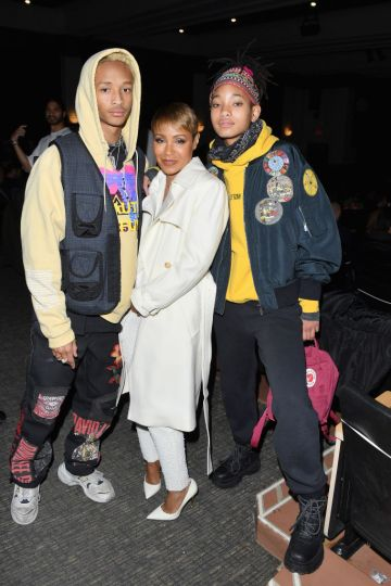 """Jaden Smith, Jada Pinkett Smith, and Willow Smith attend the """"Hala"""" Premiere during the 2019 Sundance Film Festival at Library Center Theater on January 26, 2019 in Park City, Utah.  (Photo by George Pimentel/Getty Images)"""