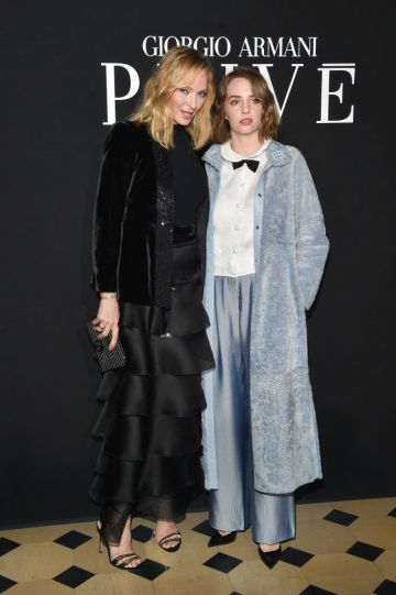 Uma Thurman and her daughter Maya Hawke attend the Giorgio Armani Prive Haute Couture Spring Summer 2019 show as part of Paris Fashion Week  on January 22, 2019 in Paris, France. (Photo by Stephane Cardinale - Corbis/Corbis via Getty Images)