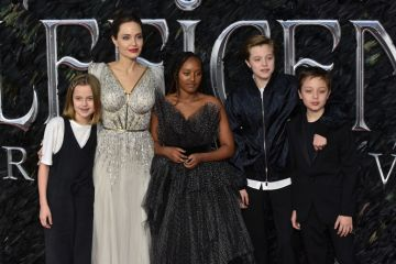 Vivienne Jolie-Pitt, Angelina Jolie, Zahara Jolie-Pitt, Shiloh Jolie-Pitt and Knox Leon Jolie-Pitt attend the Maleficent: Mistress of Evil European Premiere at the BFI IMAX Waterloo in London. (Photo by James Warren/SOPA Images/LightRocket via Getty Images)