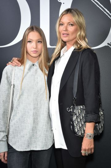 Kate Moss and her daughter Lila Grace Moss Hack attend the Dior Homme Menswear Fall/Winter 2020-2021 show as part of Paris Fashion Week on January 17, 2020 in Paris, France. (Photo by Stephane Cardinale - Corbis/Corbis via Getty Images)