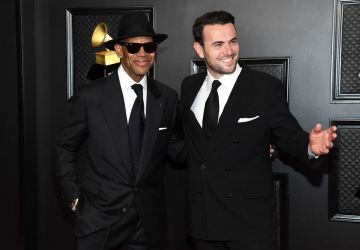 (L-R) Jimmy Jam and Ben Winston attend the 63rd Annual GRAMMY Awards at Los Angeles Convention Center on March 14, 2021 in Los Angeles, California. (Photo by Kevin Mazur/Getty Images for The Recording Academy )