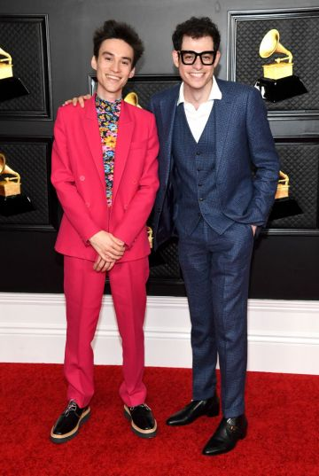 (L-R) Jacob Collier and Ben Bloomberg attend the 63rd Annual GRAMMY Awards at Los Angeles Convention Center on March 14, 2021 in Los Angeles, California. (Photo by Kevin Mazur/Getty Images for The Recording Academy )