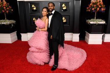 (L-R) Jhené Aiko and Big Sean attend the 63rd Annual GRAMMY Awards at Los Angeles Convention Center on March 14, 2021 in Los Angeles, California. (Photo by Kevin Mazur/Getty Images for The Recording Academy )