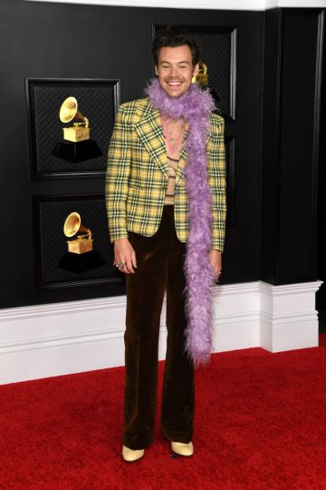Harry Styles attends the 63rd Annual GRAMMY Awards at Los Angeles Convention Center on March 14, 2021 in Los Angeles, California. (Photo by Kevin Mazur/Getty Images for The Recording Academy )