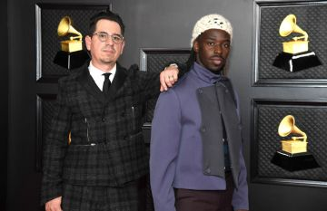(L-R) Adrian Quesada and Eric Burton of Black Pumas attend the 63rd Annual GRAMMY Awards at Los Angeles Convention Center on March 14, 2021 in Los Angeles, California. (Photo by Kevin Mazur/Getty Images for The Recording Academy )