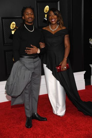 (L-R) D Smoke and Jackie Gouche-Farris attend the 63rd Annual GRAMMY Awards at Los Angeles Convention Center on March 14, 2021 in Los Angeles, California. (Photo by Kevin Mazur/Getty Images for The Recording Academy )