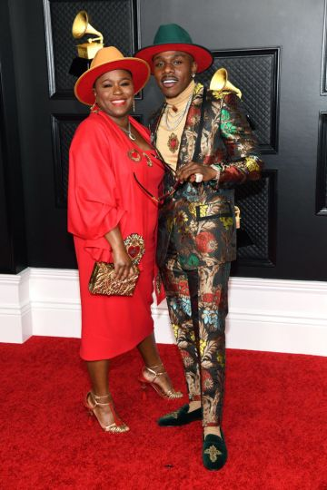 DaBaby (R) and his mother attend the 63rd Annual GRAMMY Awards at Los Angeles Convention Center on March 14, 2021 in Los Angeles, California. (Photo by Kevin Mazur/Getty Images for The Recording Academy )