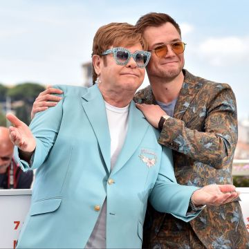 """Sir Elton John and Taron Egerton attend the photocall for """"Rocketman"""" during the 72nd annual Cannes Film Festival on May 16, 2019 in Cannes, France. (Photo by Dominique Charriau/WireImage)"""