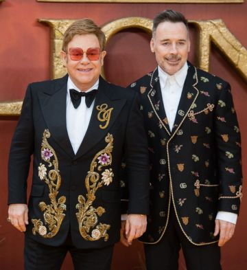 """Elton John attends """"The Lion King"""" European Premiere at Leicester Square on July 14, 2019 in London, England. (Photo by Samir Hussein/WireImage)"""