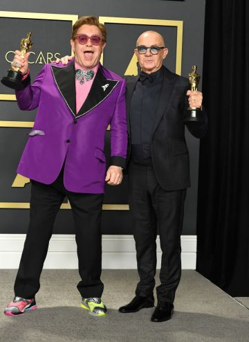 Elton John and Bernie Taupin poses at the 92nd Annual Academy Awards at Hollywood and Highland on February 09, 2020 in Hollywood, California. (Photo by Steve Granitz/WireImage )