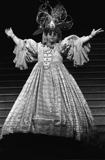 Elton John pictured wearing a typically flamboyant costume 3rd December 1984. (Photo by McCarthy/Express Newspapers/Getty Images)