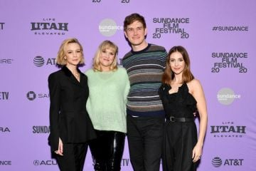 """Carey Mulligan, Emerald Fennell, Bo Burnham, and Alison Brie attend the 2020 Sundance Film Festival - """"Promising Young Woman"""" Premiere at The Marc Theatre on January 25, 2020 in Park City, Utah. (Photo by Dia Dipasupil/Getty Images)"""