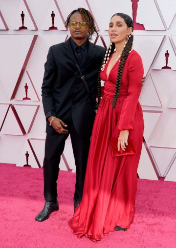 (L-R) Garrett Bradley and Azikiwe Mohammed attend the 93rd Annual Academy Awards at Union Station on April 25, 2021 in Los Angeles, California. (Photo by Chris Pizzello-Pool/Getty Images)