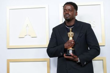 Daniel Kaluuya poses with the Best Actor in a Supporting Role award for 'Judas and the Black Messiah' in the press room during the 93rd Annual Academy Awards at Union Station on April 25, 2021 in Los Angeles, California. (Photo by Matt Petit/A.M.P.A.S. via Getty Images)