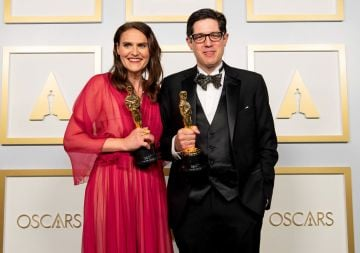 Alice Doyard and Anthony Giacchino winner of Best Documentary Short for Colette in the press room during the 93rd Annual Academy Awards at Union Station on April 25, 2021 in Los Angeles, California. (Photo by Matt Petit/A.M.P.A.S. via Getty Images)